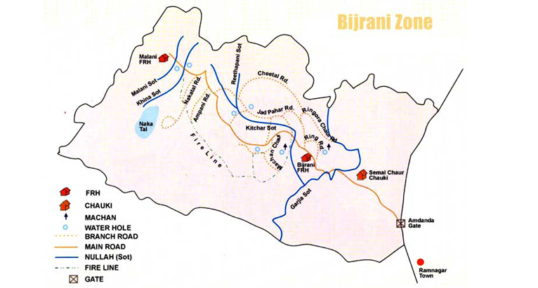 Corbett Bijrani Zone Map