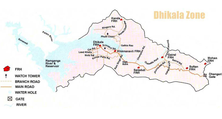 Corbett Dhikala Zone Map